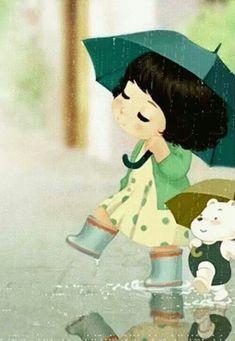 umbrellas by quenalbertini - Green umbrella Illustration-via somosfamilia...