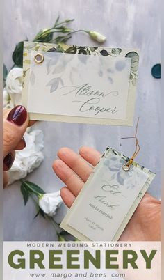 Greenery wedding - Invitatioin Card - Ideas of Invitatioin Card - Wedding place cards table cards wine labels and table numbers with simple design. Greenery trend is still hot for weddings. Wedding Place Names, Wedding Places, Diy Wedding Place Cards, Wedding Table Cards, Simple Wedding Cards, Wedding Locations, Destination Wedding, Wedding Planning, Modern Wedding Stationery