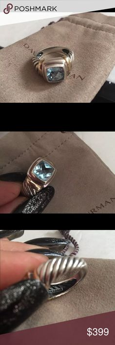 David Yurman Blue Topaz , 18k & SS! A beauty ! Gorgeous David Yurman blue Topaz ring size 6.5-7 , 18k & sterling silver ! Beautiful condition ! Any Q's just tag me ! Thanks for pking  in my closet !!  David Yurman Jewelry Rings