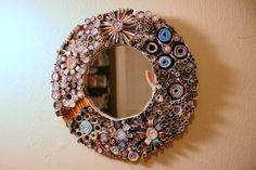 upcycled rolled magazine mirror