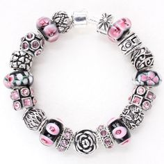 Charm bracelet with charms LOVE pink black Murano glass beads European charms #Unbranded #European