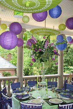 Paper lanterns AND umbrellas for wedding decor