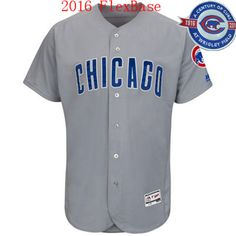 Men's Chicago Cubs Blank Road Gray Chicago 100th Anniversary 2016 Flexbase Jersey