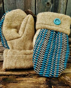 Handcrafted Tan and Blue Striped Wool Mittens Sweater Mittens, Teaching Art, Straw Bag, Upcycle, Wool, Trending Outfits, Unique Jewelry, Creative, Handmade Gifts