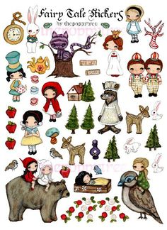 Fairy Tale Stickers Fairy Tale Prints Snow White by thepoppytree