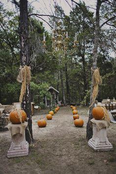 DIY, Glittery, Pumpkin Filled Fall Wedding In The Woods