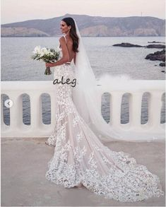 Backless Mermaid Beach Wedding Dresses V-neck Lace Applique Sweep Trumpet Garden Bridal Wedding Dress sold by bettybridal on Storenvy Mermaid Bridesmaid Dresses, Lace Mermaid Wedding Dress, Gorgeous Wedding Dress, Mermaid Dresses, Beautiful Bride, Dress Wedding, Lace Wedding, Luxury Wedding, Wedding Bride