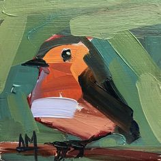 Robin no. 236 Original Oil Painting by Angela Moulton