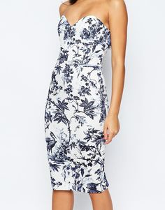 Image 3 of ASOS Bandeau Midi Pencil Dress With Jacket In Garden Floral