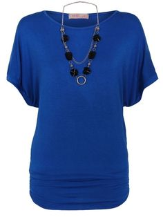 Loose Pleated Plain Short-sleeve-t-shirts Short sleeve T-shirts from fashionmia.com