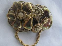 Pink Shabby Roses Gardners Broach Mix Media Gold  Swinging Chain Shabby Victorian Pin Floral Brooch