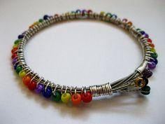 Rainbow Beaded Guitar String Bracelet - Handmade Recycled Jewelry $26