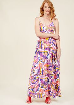 <p>This colorful maxi dress from our ModCloth namesake label makes you instantly available to the camaraderie of other daring fashionistas! Printed all over with a pop-art inspired landscape calling for climate care in a bold palette white, pink, orange, purple, and blue hues, this floor-length frock is one with which you can both identify and indulge.</p>