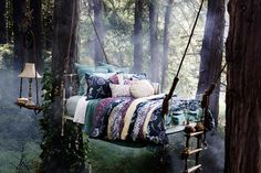 No need to build a whole tree house.just a tree bed! I bed it would rock a bit too. Very rock a by baby in the tree tops huh? Outdoor Spaces, Outdoor Living, Outdoor Bedroom, Tree Bed, Tree Canopy, Relax, Swinging Chair, In The Tree, My New Room