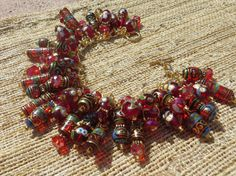 ROUGE GYPSY red and Gold Crystal Gypsy Bead Charm Bracelet ooak