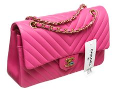 508cc2b7e39f Chanel Hot Pink Chevron Lambskin Classic 2.55 Handbag 15S NEW | From a  collection of rare