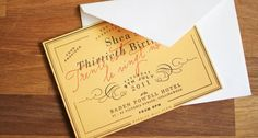 30th birthday invite based on champagne label!  Design St. Gertrude Design and Letterpress; photo Structured Pieces