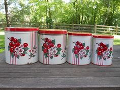 Set of Vintage Kitchen Canisters With Cherries by FlossyBobbsey, $35.00
