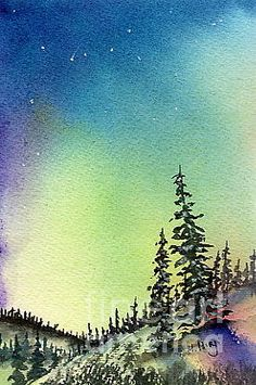 Northern Lights - watercolor by ©Mohamed Hirji (FineArtAmerica)