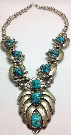 OLD Pawn Rare Vintage Navajo Turquoise Silver Squash Blossom | eBay