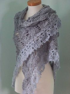 Grey triangular shawl crochet PDF pattern by BernioliesDesigns, $5.00
