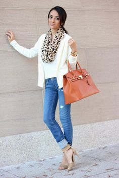 Cream blazer, Hollister jeans, taupe sandals, print scarf (forever 21), orange tote - Maytedoll: Neutral love