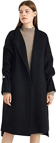 ANNA/&CHRIS Womens Long Wool Trench Coat Winter Oversize Handmade Lapel Cardigan Overcoat