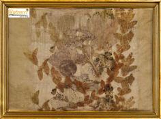 Eucalyptus, Acer & St. John's Wort on beautiful pure silk with vintage frame