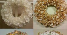 Ensimmäinen kranssi on valmistettu valkaistuista suodatin pusseista ja toiseen on käytetty sekä valkaistuja että ruskeita suodatinpusseja.... Door Wreaths, Burlap Wreath, Christmas Wreaths, Candle Holders, Candles, Holiday Decor, Vintage, Home Decor, Holiday Burlap Wreath