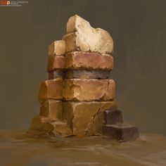 Hi guys, This is a tutorial from last month. 2 hours real time tutorial for the beginner of showing how to paint a rock block without using any texture. If you are looking for the material study, this may suit you. Composition Painting, Texture Painting, Digital Painting Tutorials, Art Tutorials, Environment Painting, Hand Painted Textures, Prop Design, Stone Texture, Cg Art