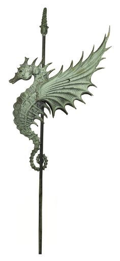 SEAHORSE 1872-1974 W.H. MULLINS CO. Produced in Salem, Ohio, circa 1895. Molded copper weathervane 68 by 39 by 9 in.