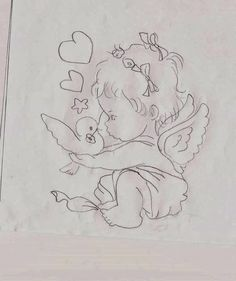 T T baby angel and bird Baby Coloring Pages, Adult Coloring, Coloring Books, Cool Sketches, Drawing Sketches, Art Drawings, Clipart Baby, Angel Drawing, Baby Drawing
