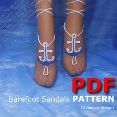 Barefoot+Sandals+Pattern+ANCHOR+by+LassCrochet+on+Etsy,+$3.99