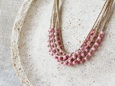 Dusty rose pink necklace Natural linen necklace with glass beads Rustic jewelry Boho Bohemian Spring fashion Multi strand Mother's Day gift