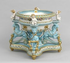 Elaborate and Large Porcelain Jardiniere, French. ca. early 20th century