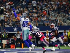New England Patriots vs. Dallas Cowboys - Photos - October 11, 2015 - ESPN  -     ARLINGTON, TX - OCTOBER 11: Jason Witten #82 of the Dallas Cowboys is unable to make the catch as Devin McCourty #32 of the New England Patriots defends during the second half of the NFL game against the New England Patriots at AT&T Stadium on October 11, 2015 in Arlington, Texas. (Photo by Mike Stone/Getty Images)
