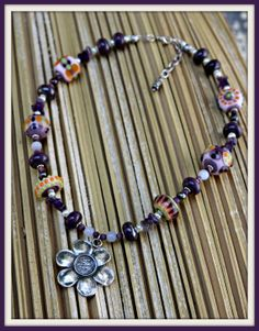 Purple Themed Daisy Necklace Handmade Glass Beads by blancheandguy, $120.00