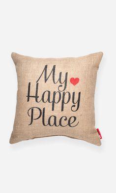 My Happy Place Burlap Throw Pillow