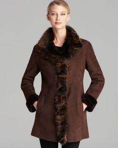 Maximilian Lamb Shearling Ruffle Trim Coat | Bloomingdale's