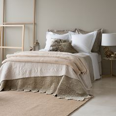 BEDSPREAD AND CUSHION COVER WITH EMBROIDERED LEAVES - Bedspreads - Bedroom | Zara Home United Kingdom