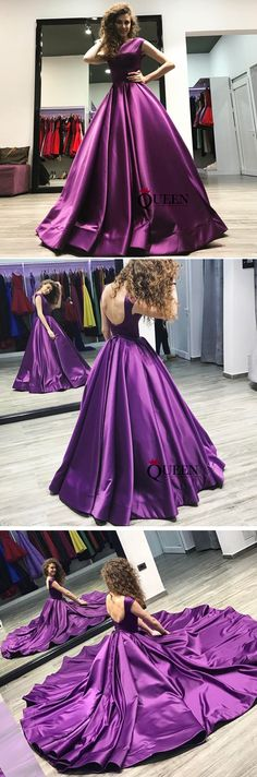 Elegant Purple Bateau Satin A-Line Prom Dress, Purple Long Evening Gown With Lace-up Back