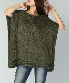 Hand knitted Poncho/ capelet eco cotton poncho in Fall green -ready to ship - Lucile Maes - - -Poncho tejido a mano / capeletHand knit Tunic sweater grey eco cotton woman sweater by MaxMelodyKnitting Patterns Poncho New design for this fall / winter!