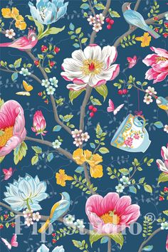 picture of flowers in the mix wallpaper dark blue | ideas for the, Garten Ideen