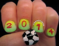 FIFA World Cup 2014 nails. Their SO easy to recreate! Just click on the picture to watch the tutorial (。◕‿◕。)
