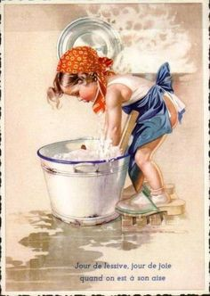 Postcard Girl Washing Clothes in Tub Éphémères Vintage, Decoupage Vintage, Vintage Artwork, Vintage Ephemera, Vintage Prints, Vintage Pictures, Vintage Images, Vintage Children Photos, Art Pictures
