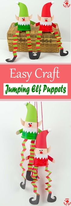Jumping Elf Puppets This Jumping Paper Cup Elf Puppet Craft is so much fun. Pull the string to watch the elves leap up and down! Such a cute interactive Christmas craft for kids. Arts And Crafts For Adults, Easy Arts And Crafts, Easy Crafts For Kids, Christmas Crafts For Kids To Make, Kids Christmas, Holiday Crafts, Christmas Decorations For Classroom, Christmas Activities For School, Christmas Art Projects