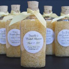 bridal shower favors- bath salts for spa themed bridal shower