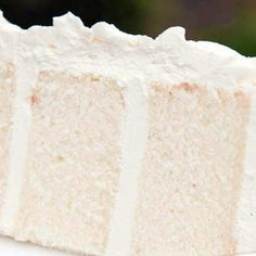 White velvet cake gets it's flavor and velvety texture from buttermilk. A moist, tender cake that is great for any special occasion. This recipe makes two round cakes about tall. Easy Cake Recipes, Dessert Recipes, Cookie Recipes, Moist White Cake, White Velvet Cakes, Salty Cake, Strawberry Cakes, Almond Cakes, Cake Flour