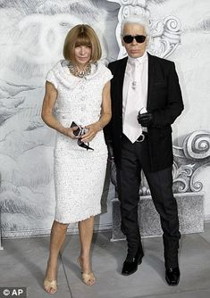 Chanel Fashion designer Karl Lagerfeld and English-born editor-in-chief of American Vogue, Anna Wintour