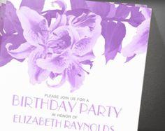 Lavender Flowers Birthday Party Invitation